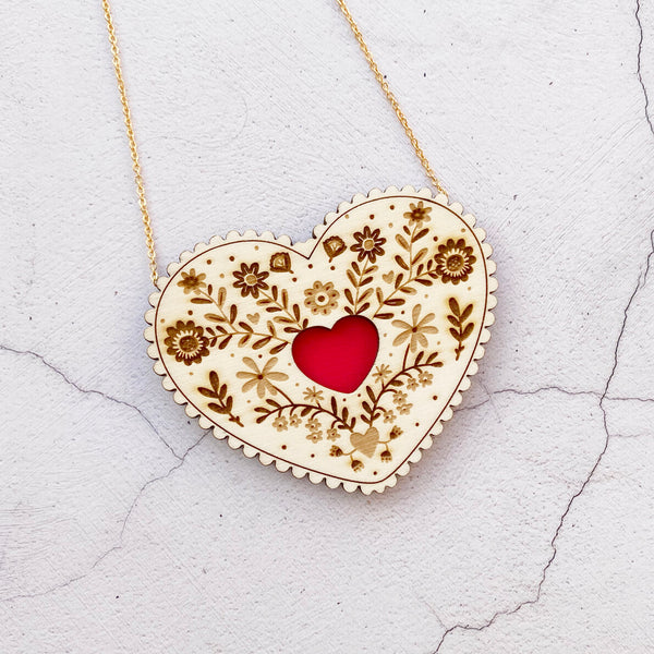 Wooden Folk Heart Necklace - Red