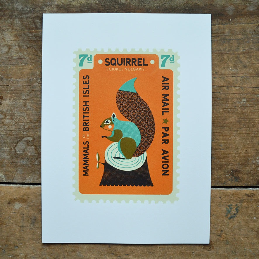 Squirrel Stamp Print by Tom Frost