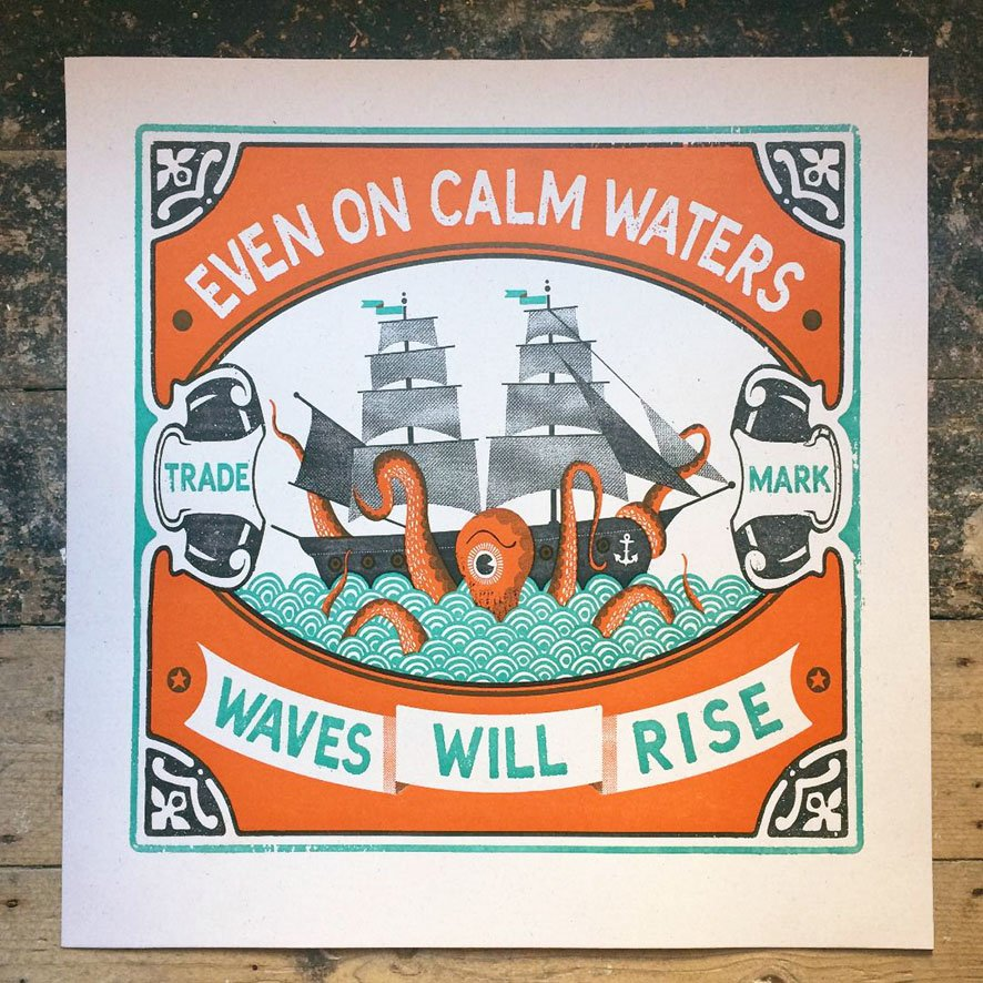 Calm Waters Letterpress Print