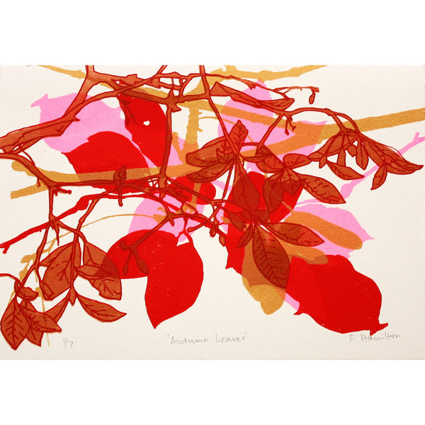 Autumn Leaves Red print by Fiona Hamilton