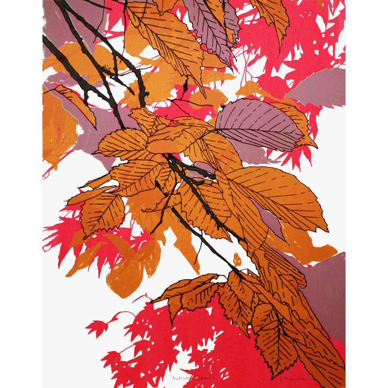Autumn Leaves Pink Print