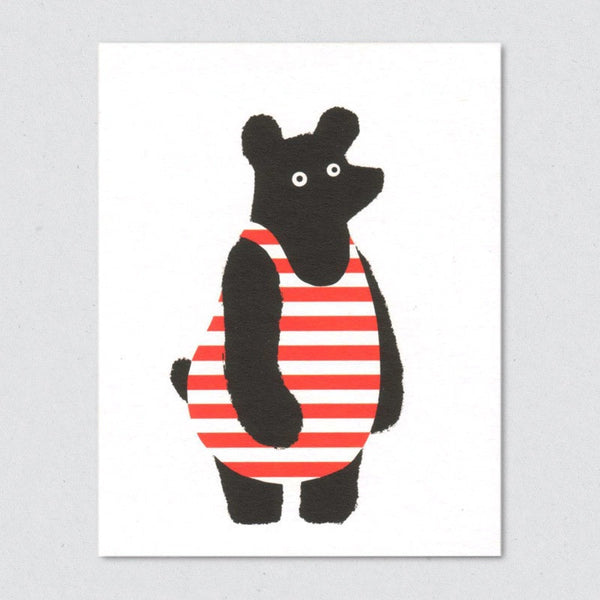 Bathing Suit Bear card by Lisa Jones Studio