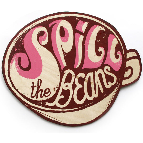 Spill the beans print on wood by Andy Smith