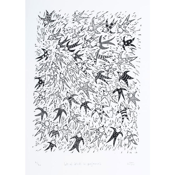 Lots of Birds in Pyjamas Print