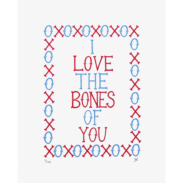 I Love the Bones of You Red & Blue Print