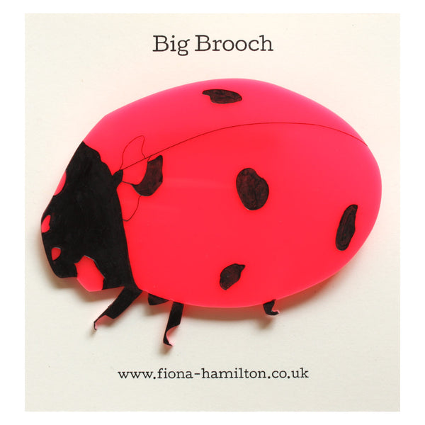 Ladybird Big Brooch Pink