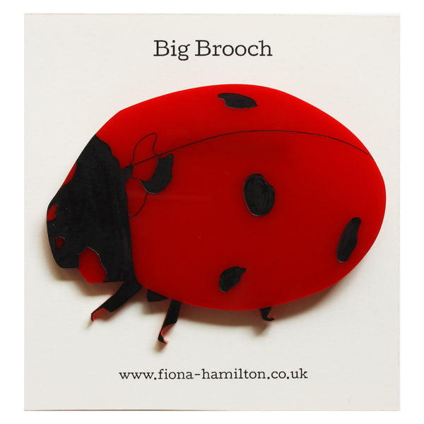 Ladybird Big Brooch Red