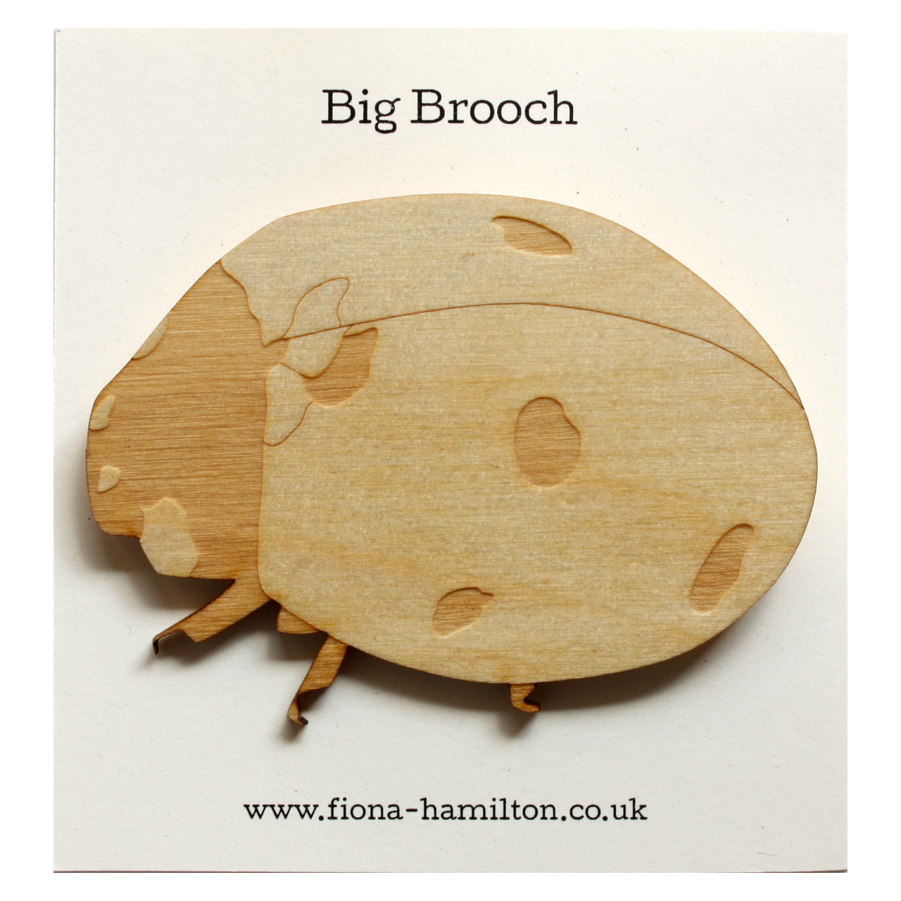 Ladybird Big Brooch Wood