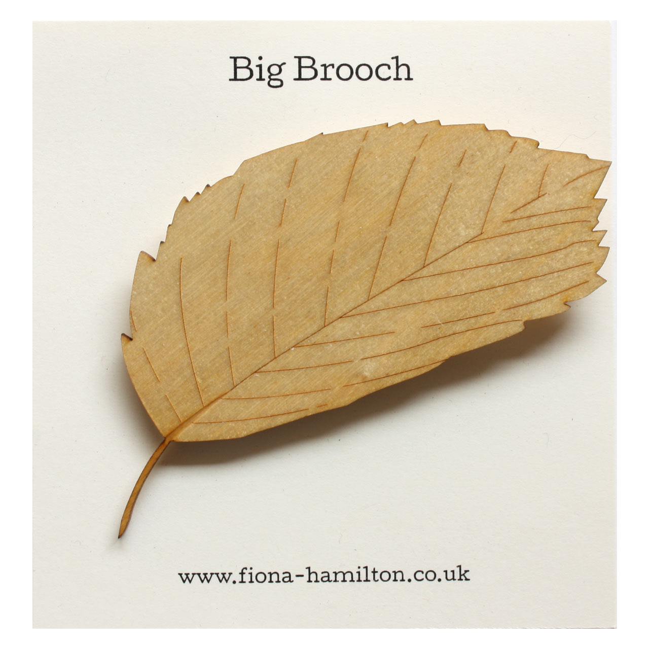 Leaf Big Brooch Wood