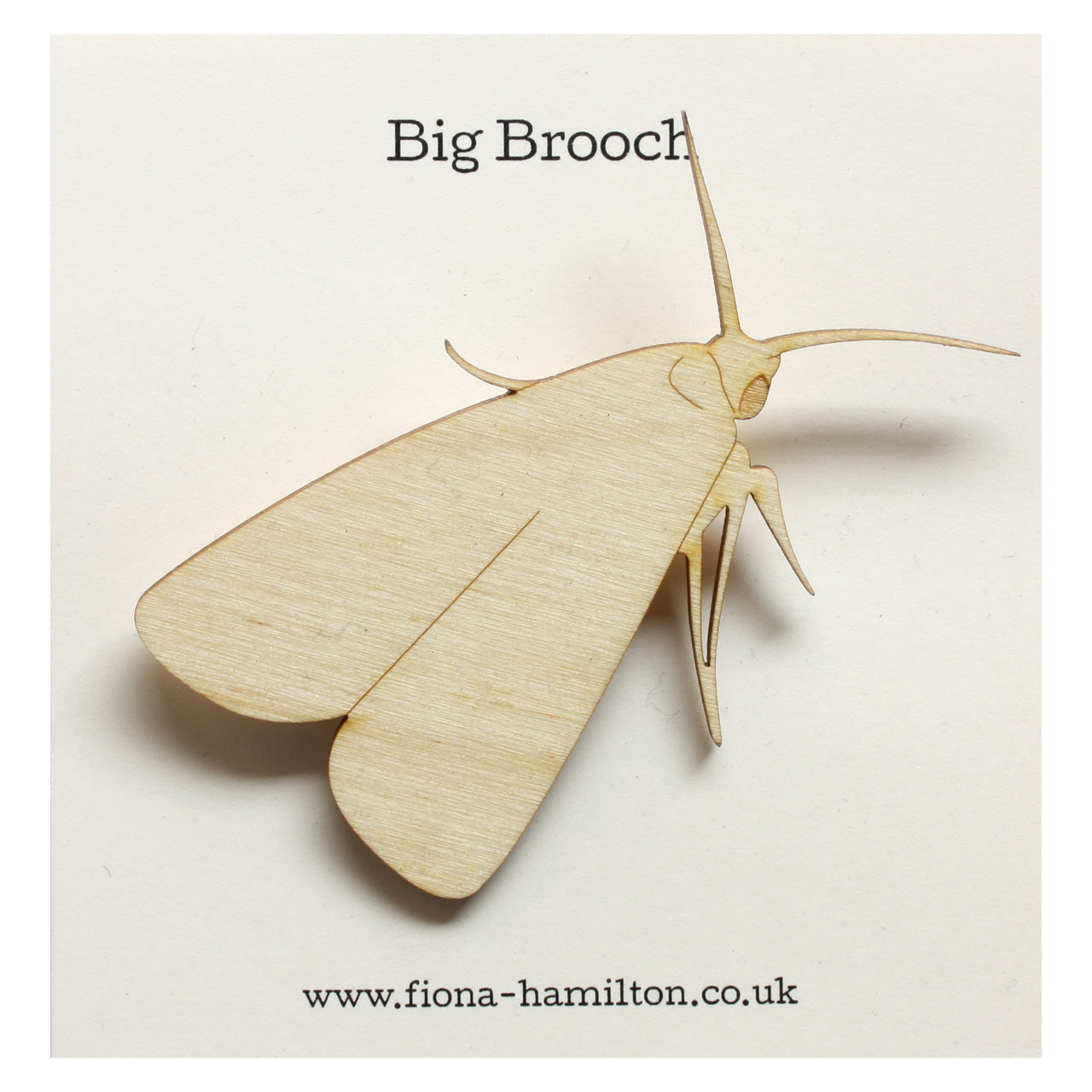 Moth Big Brooch Wood