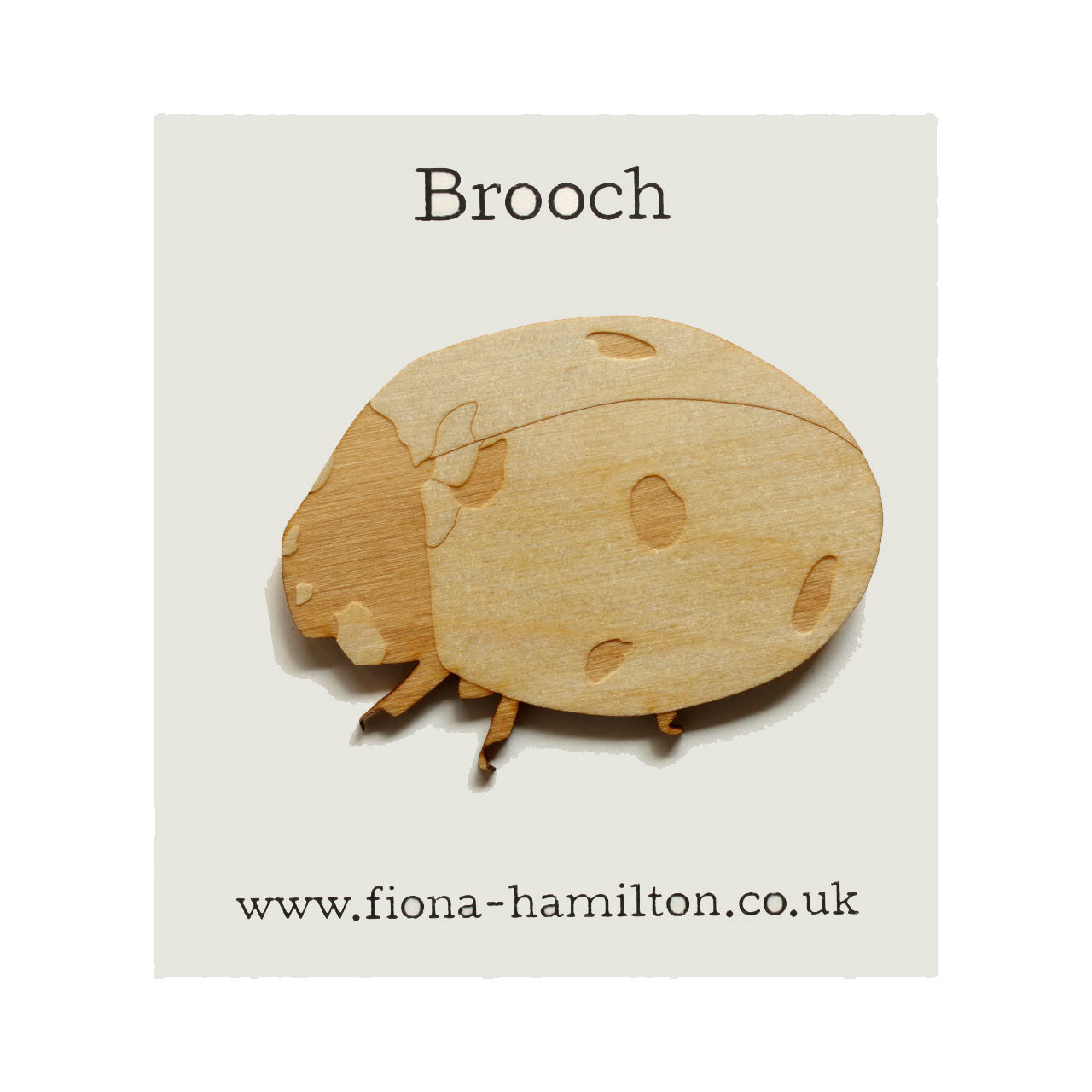 Ladybird Brooch Wood