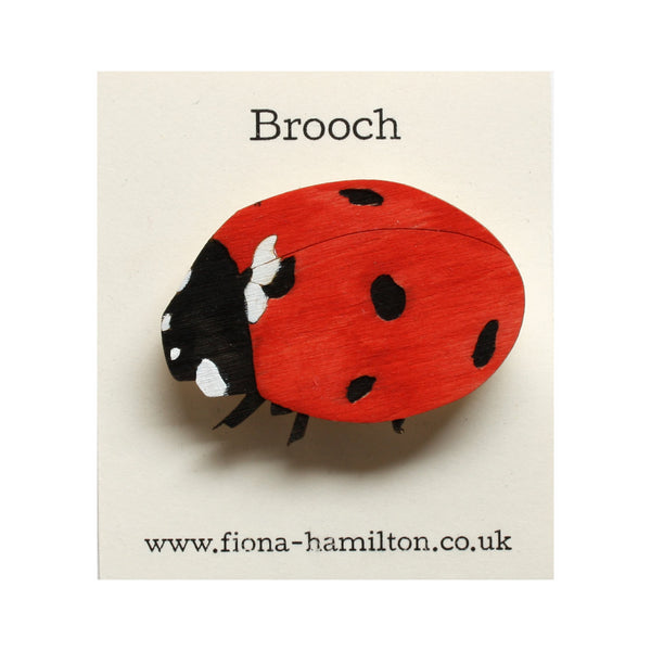 Ladybird Brooch Painted Wood