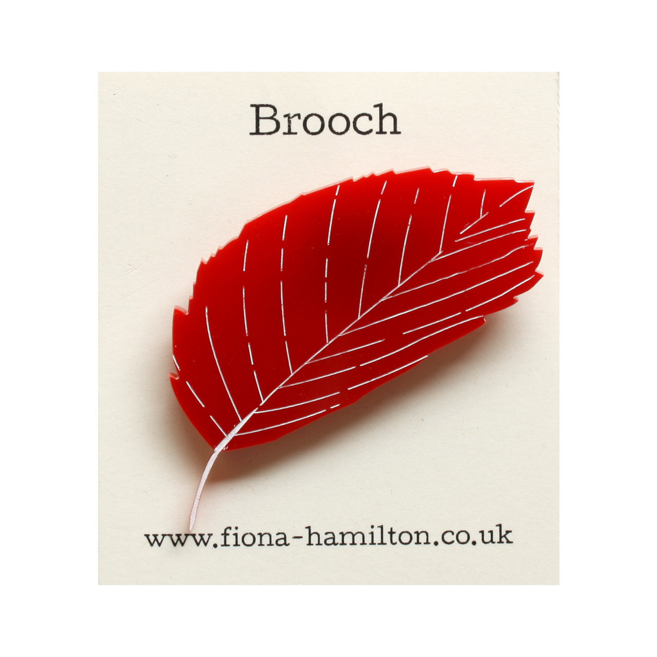 Leaf Brooch Red