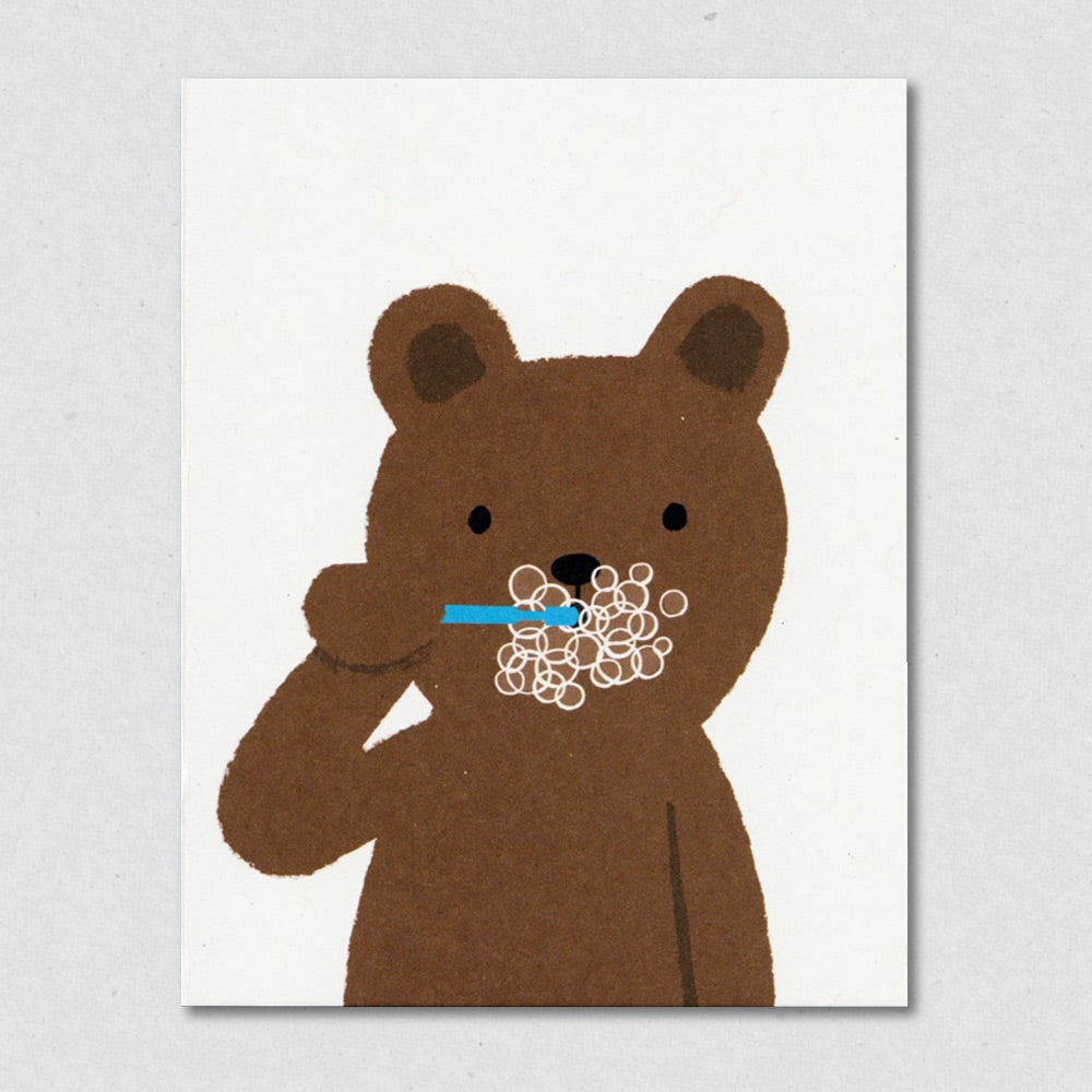 Brushing Bear greeting card by Lisa Jones Studio