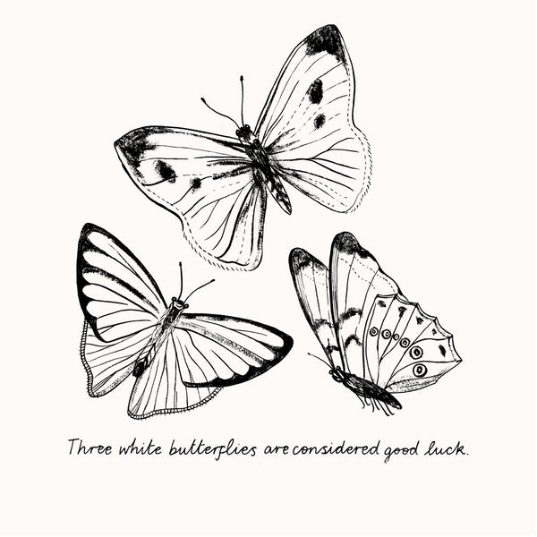 Three White Butterflies Print