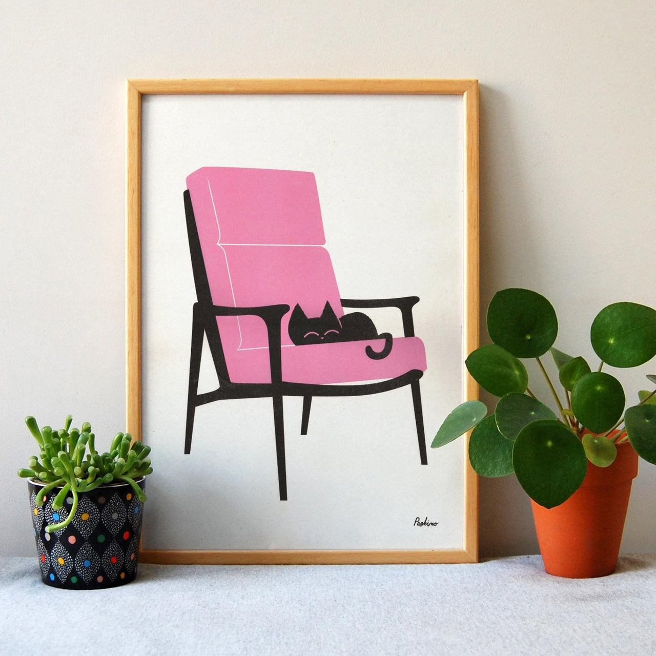 'Cat Nap Armchair' risograph print on recycled paper by Peskimo