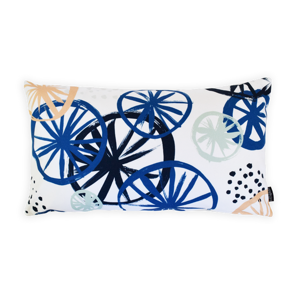 Clustered blue rectangle cushion by Kith & Kin