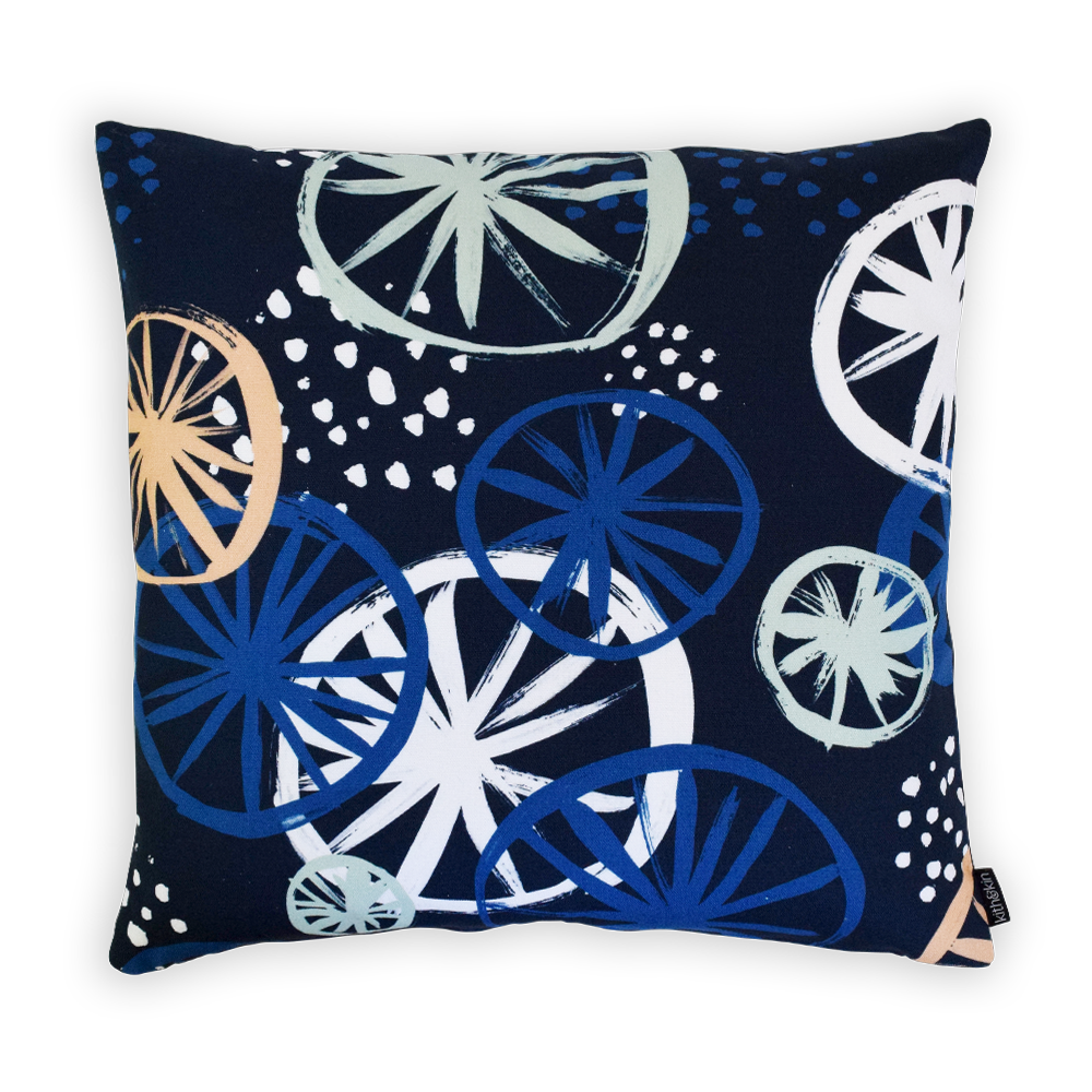 Clustered Blue Square Cushion - Cover Only