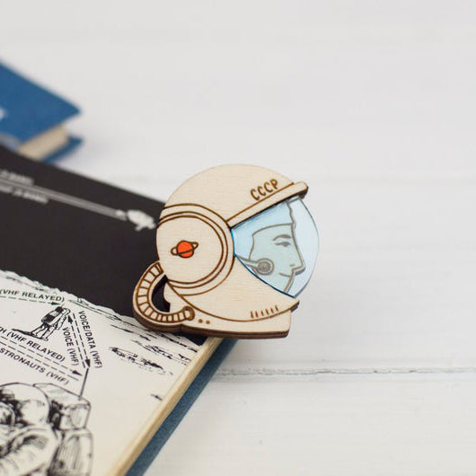 'Soviet Female Cosmonaut Valentina Tereshkova Brooch' brooch by Kate Rowland.