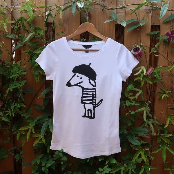 Beret Dog T-shirt - Women 12 Slim Fit