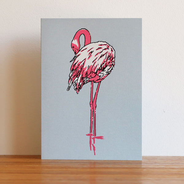 Flamingo Metallic Blue Card