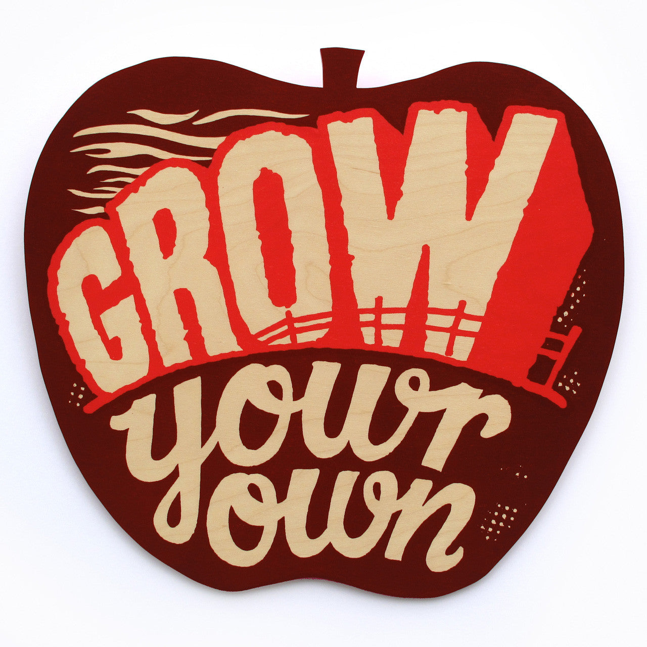 Grow Your Own print on wood by Andy Smith