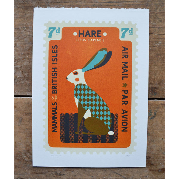 Large Hare Stamp Print by Tom Frost
