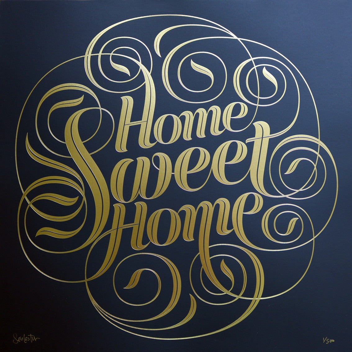 Home Sweet Home Foil Block Print by Seb Lester Soma Gallery