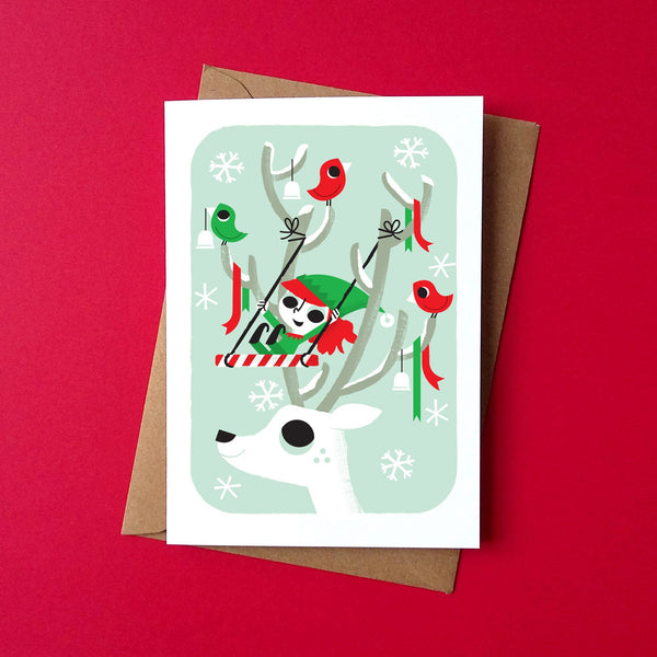 Elf Swing Christmas Card