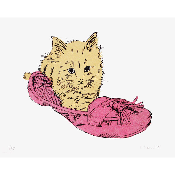 Kitten in Shoe print by Fiona Hamilton