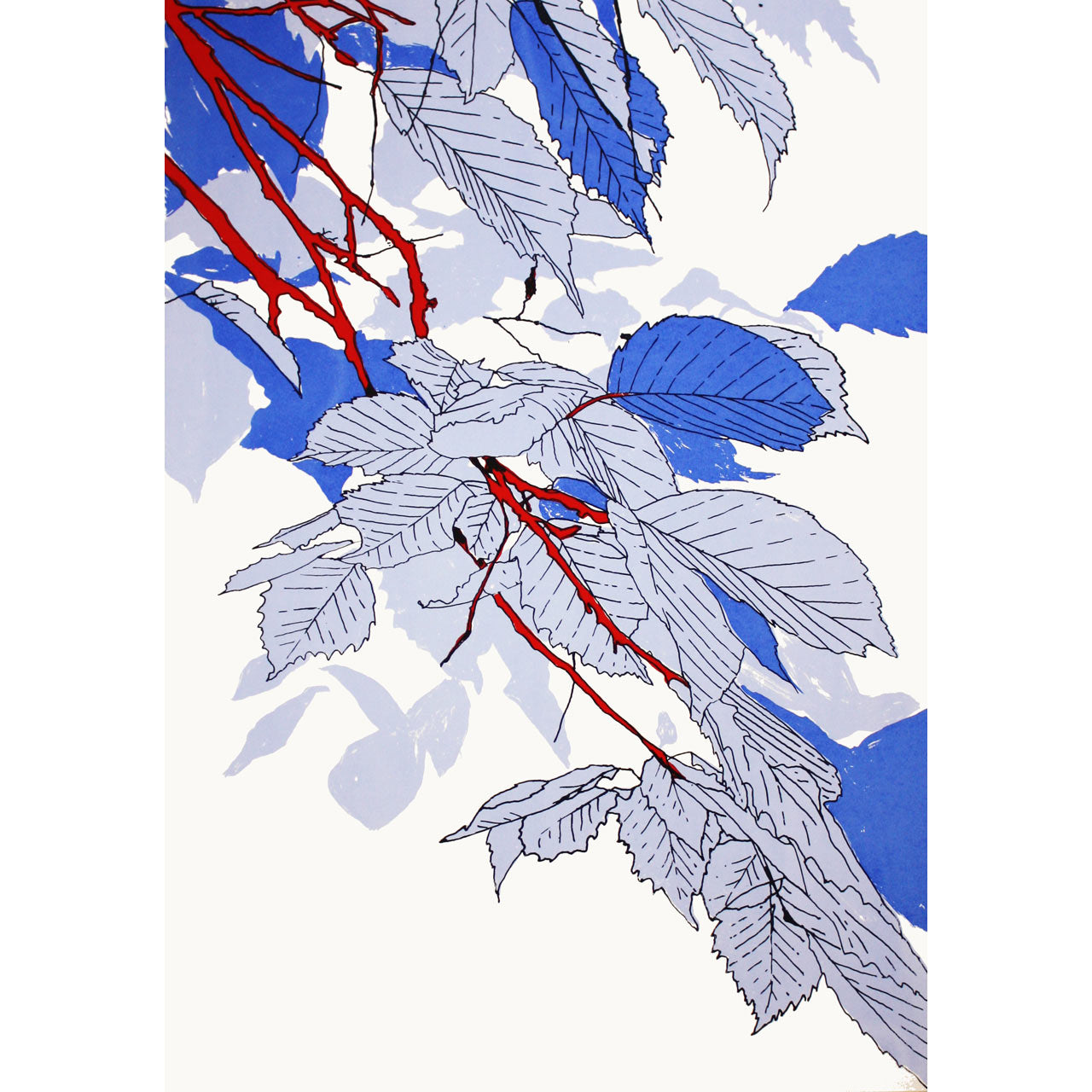 Leaves Blue/Red Print