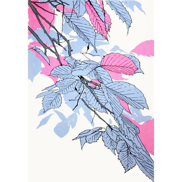 Leaves Blue/Fluoro Pink/Grey Print