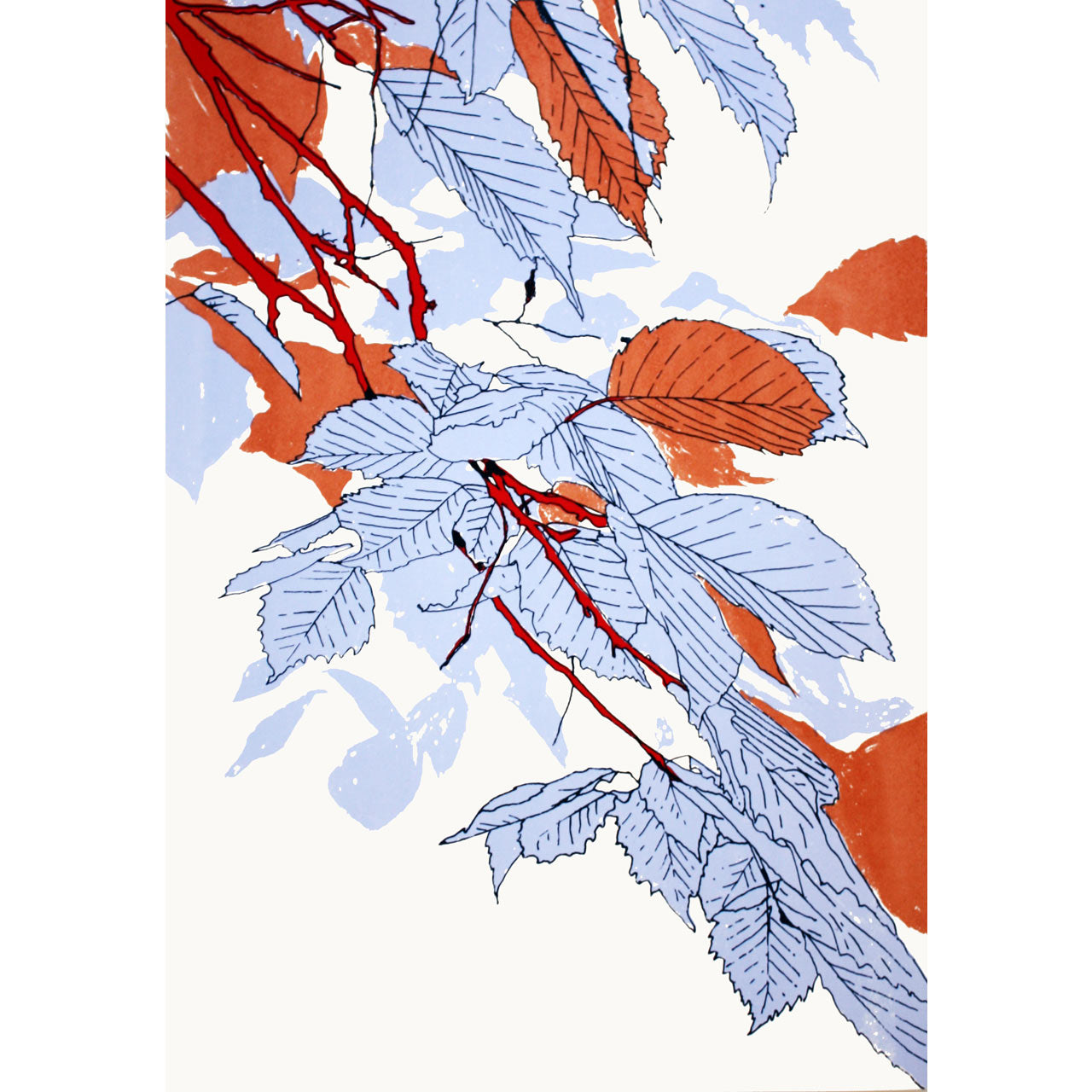Leaves Bronze/Blue/Red Print
