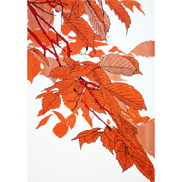 Leaves Orange/Bronze/Red Print