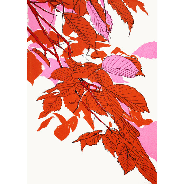 Leaves Orange/Fluoro Pink/Red Print