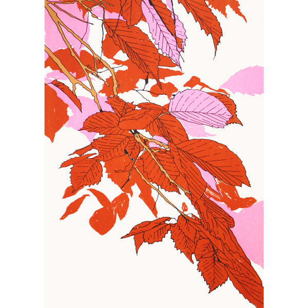 Leaves Orange/Fluoro Pink/Gold Print