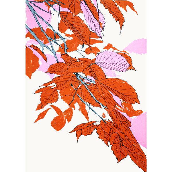Leaves Orange/Fluoro Pink/Grey Print