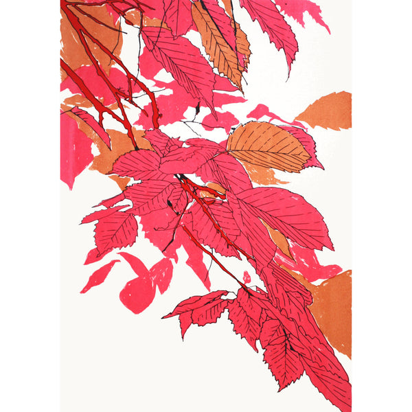 Leaves Pink/Bronze/Red Print