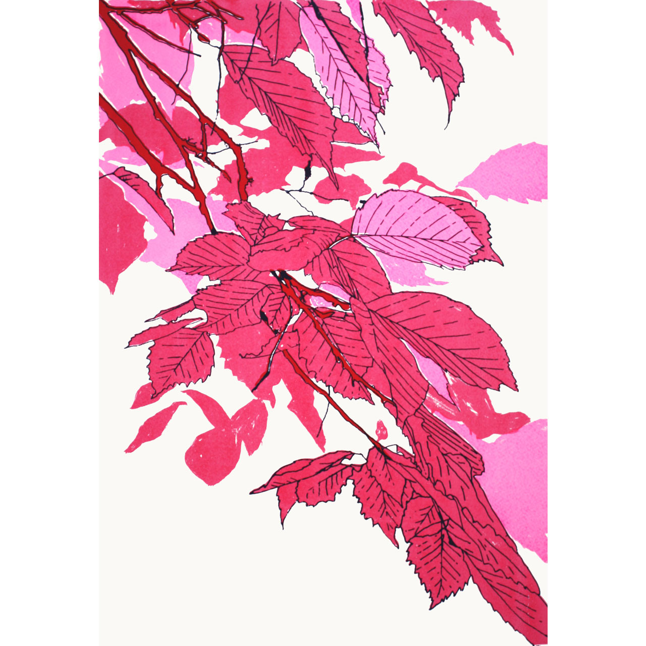 Leaves Pink/Fluoro Pink/Red Print