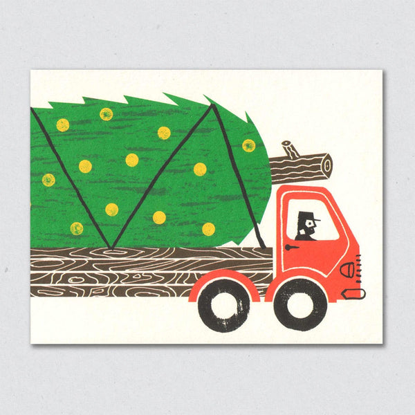 Massive Tree Truck Christmas Card