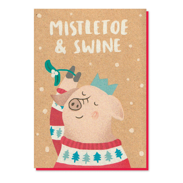Mistletoe & Swine Christmas Card