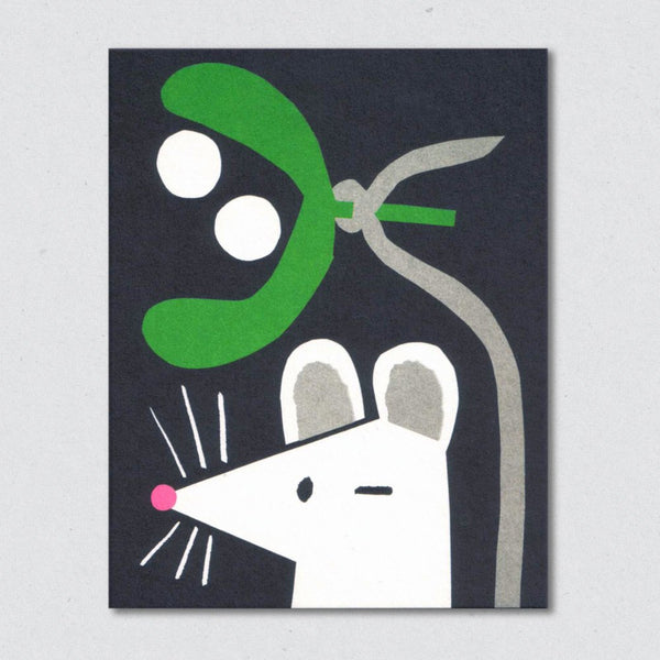 Mistletoe Mouse Christmas Card