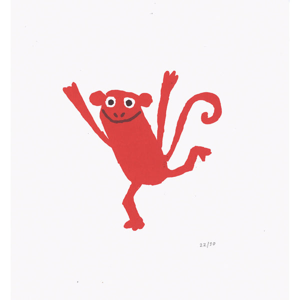 Monkey Jumps Print Red