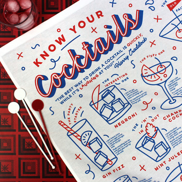 Know Your Cocktails tea towel by Crispin Finn