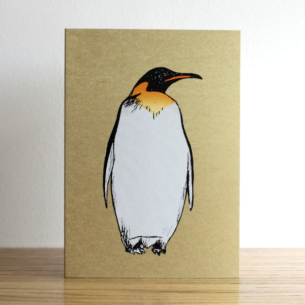 Penguin Gold Christmas Card