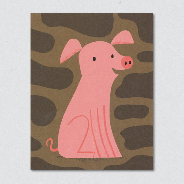 Pig greeting card by Lisa Jones Studio