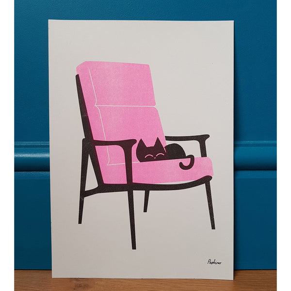 Cat Nap Armchair A4 Print