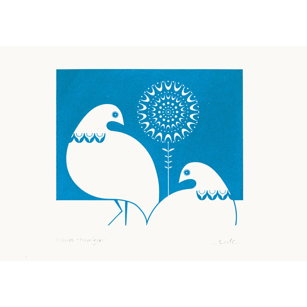Winter Ptarmigan in Blue Print