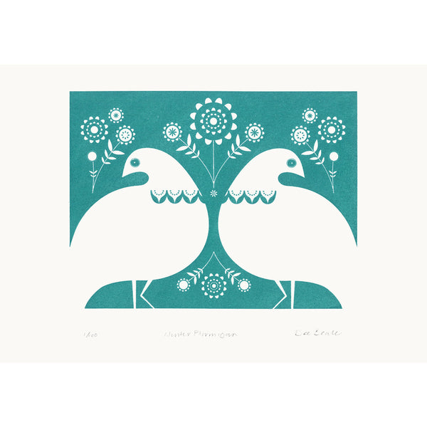 Winter Ptarmigan in Turquoise Print