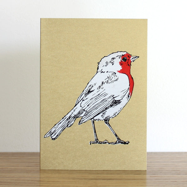 Robin Gold Christmas Card